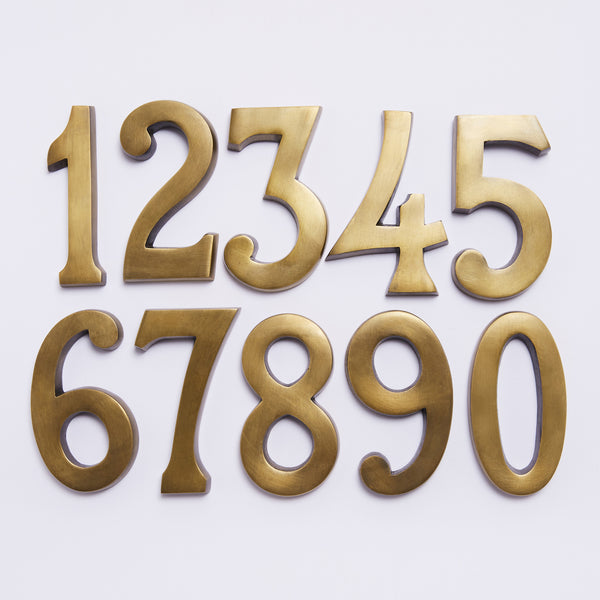 Small House Numbers - Acid Washed Brass