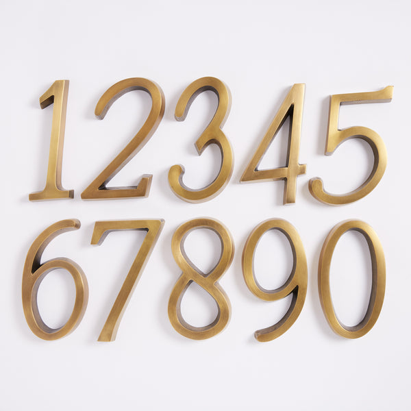 Large House Number - Acid Washed Brass