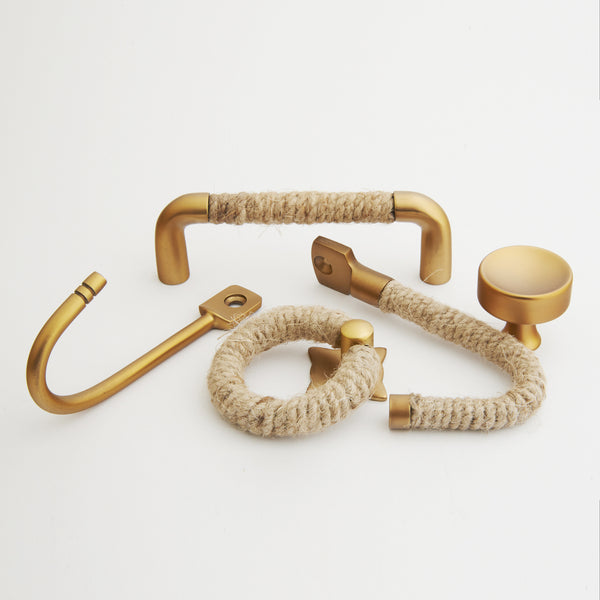 Rope Hook - Jute with Satin Brass