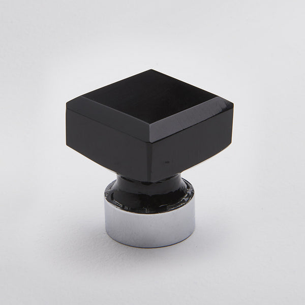 Square Glass Knob - Black