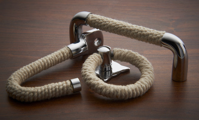 Polished Chrome pull, handle and hook with Cotton Rope