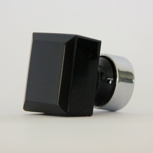 Glass Knob - Square Black