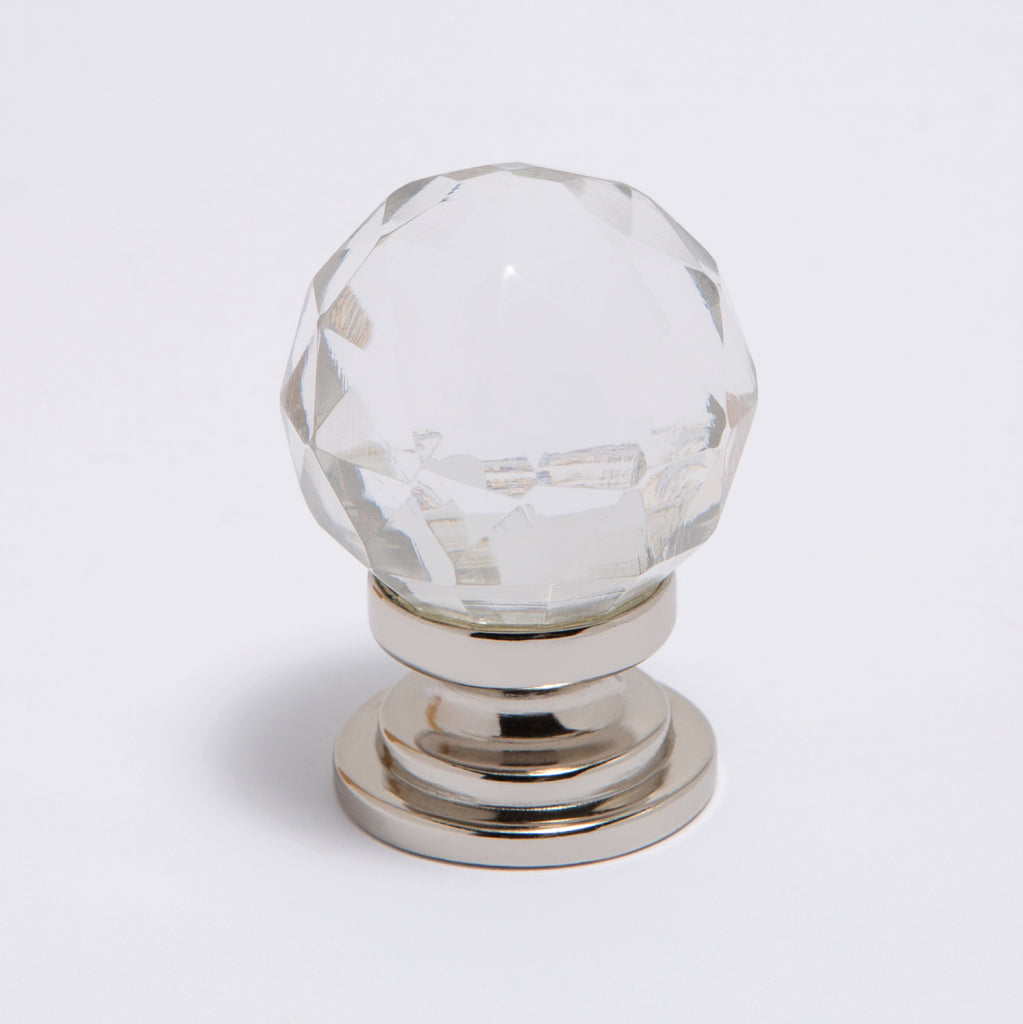 Glass Knob - Faceted Clear