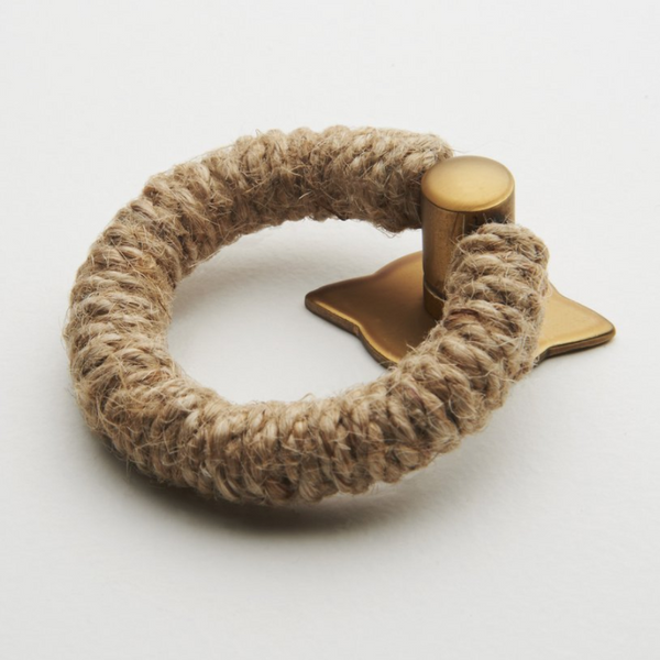 Rope Pull - Jute with Satin Brass