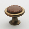 Leather Knob - Tan with Antique Brass