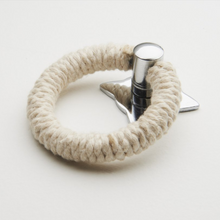 Load image into Gallery viewer, Polished Chrome pull with Cotton Rope