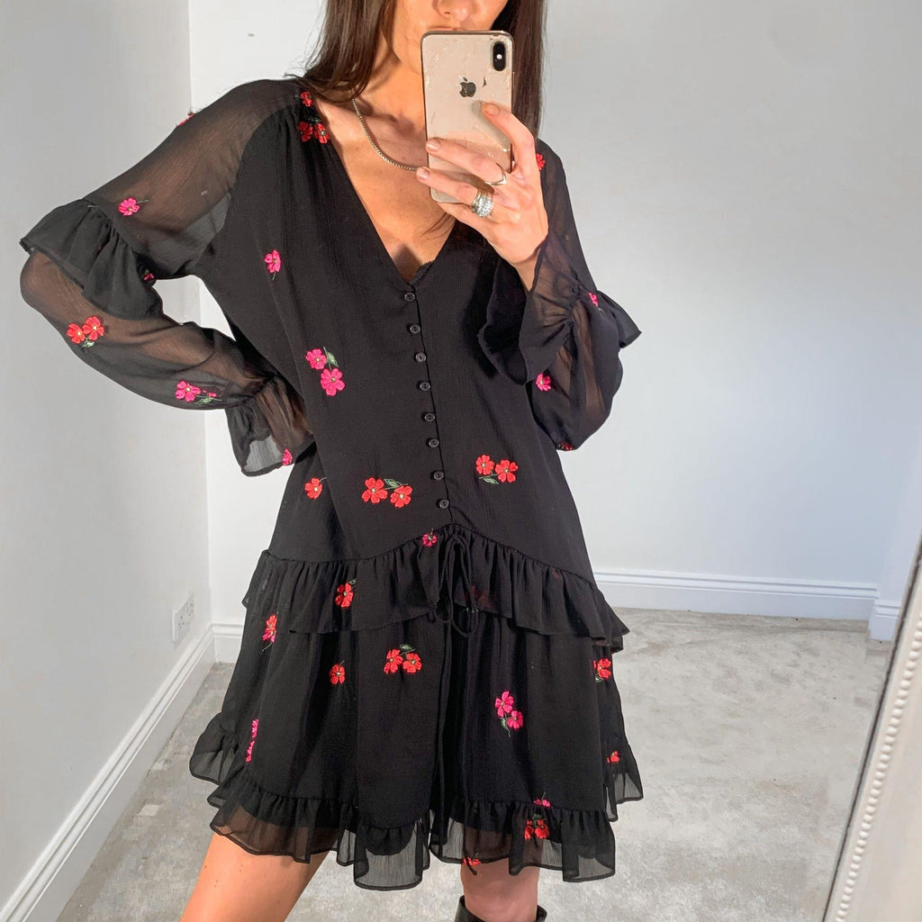 Black Red and Pink Embroidered Floral Dress with gathered tiers- New- SMALL