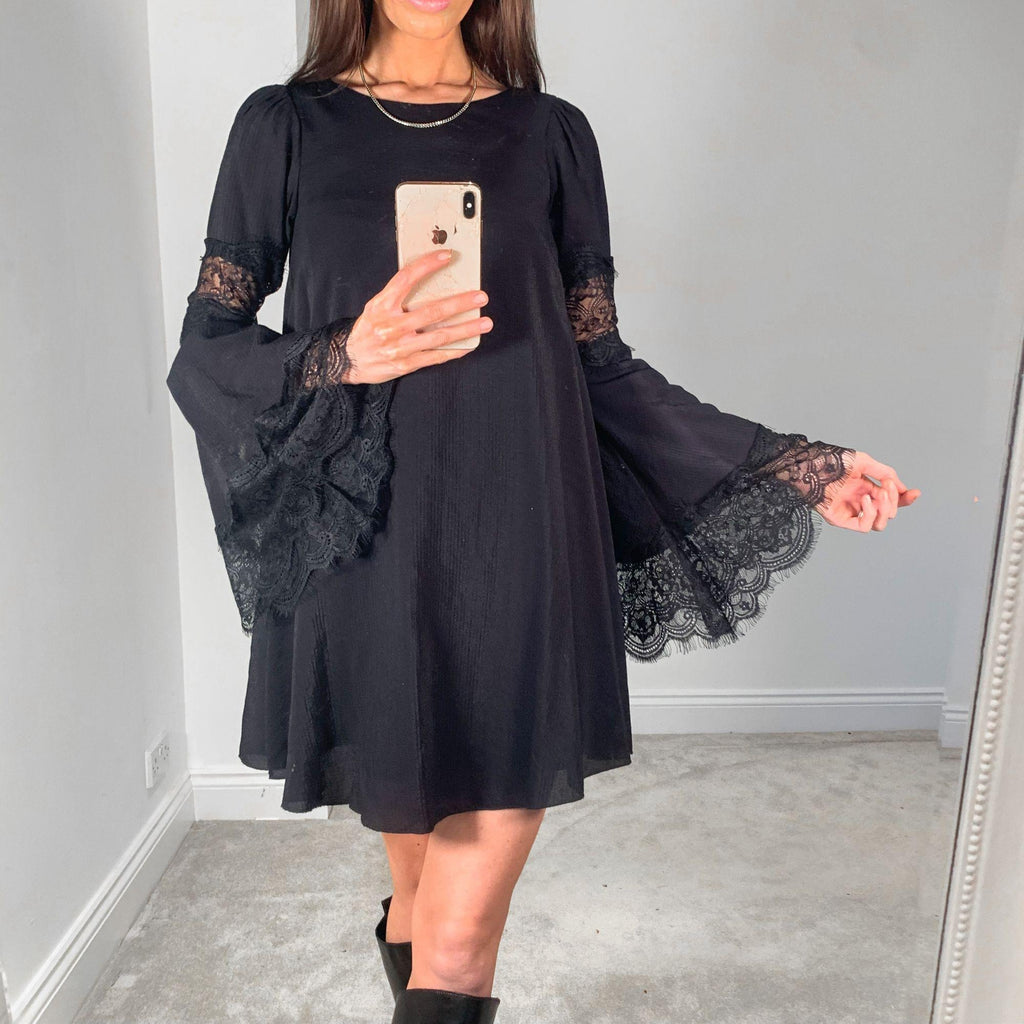 For Love & Lemons Black Lace Bell Sleeve Smock Dress – XS – Great condition!