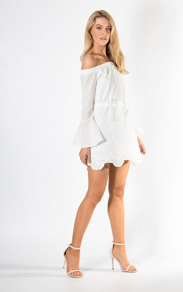 White Cotton Embroidered Off The Shoulder Dress
