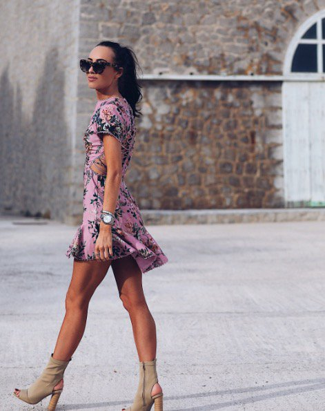 Pink Floral Detailed Back Mini Summer Occasion Dress