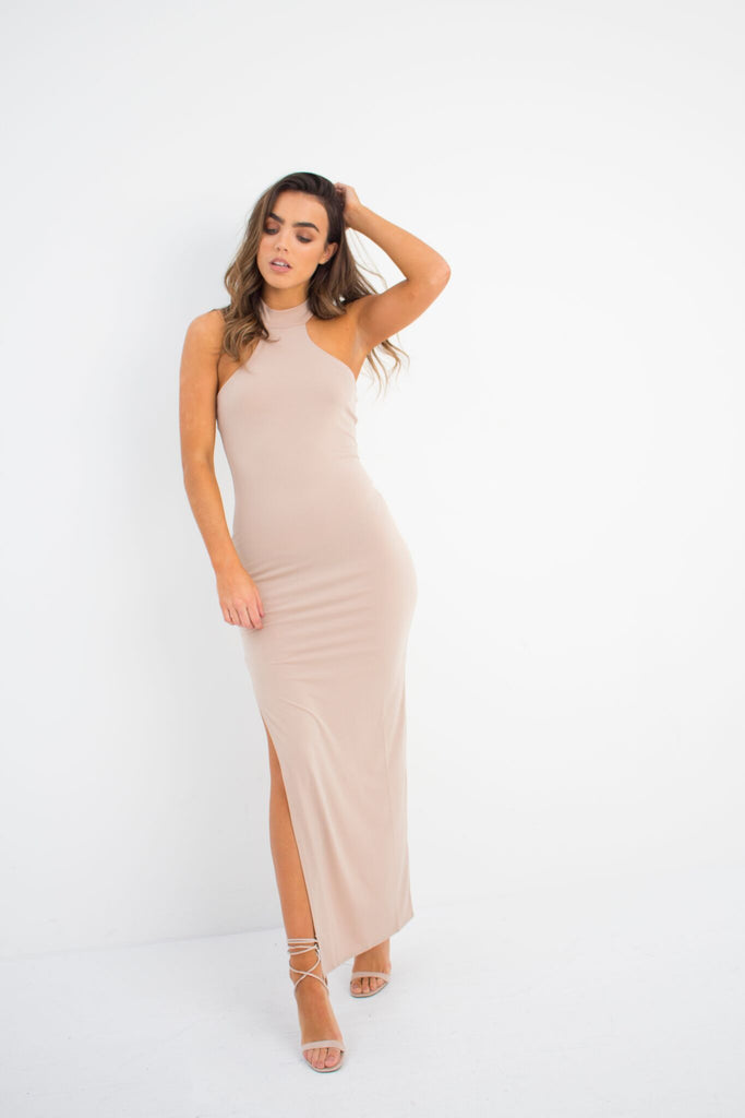 Dawnbreaker Maxi Dress In Beige Nude