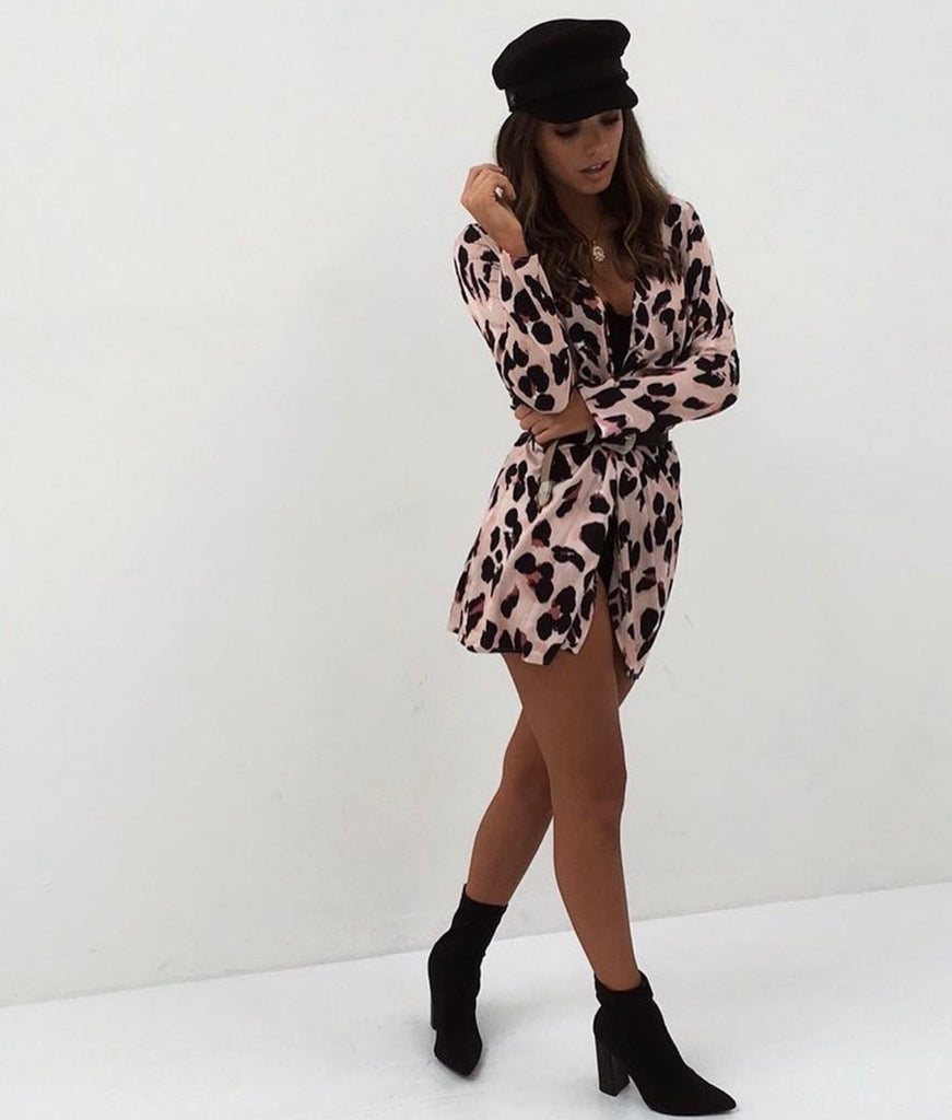 Leopard Wrap Style Tunic Blouse Dress In Satin