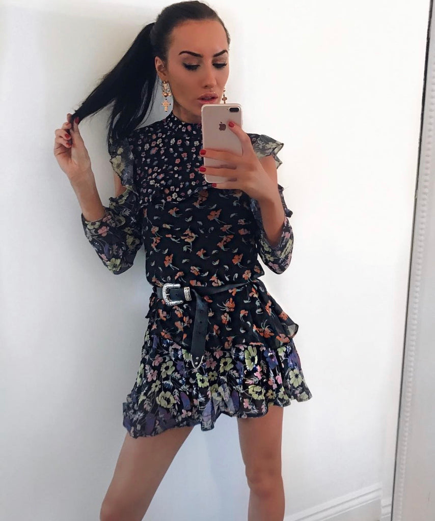 Mix Floral Print Cold Shoulder Dress in Black