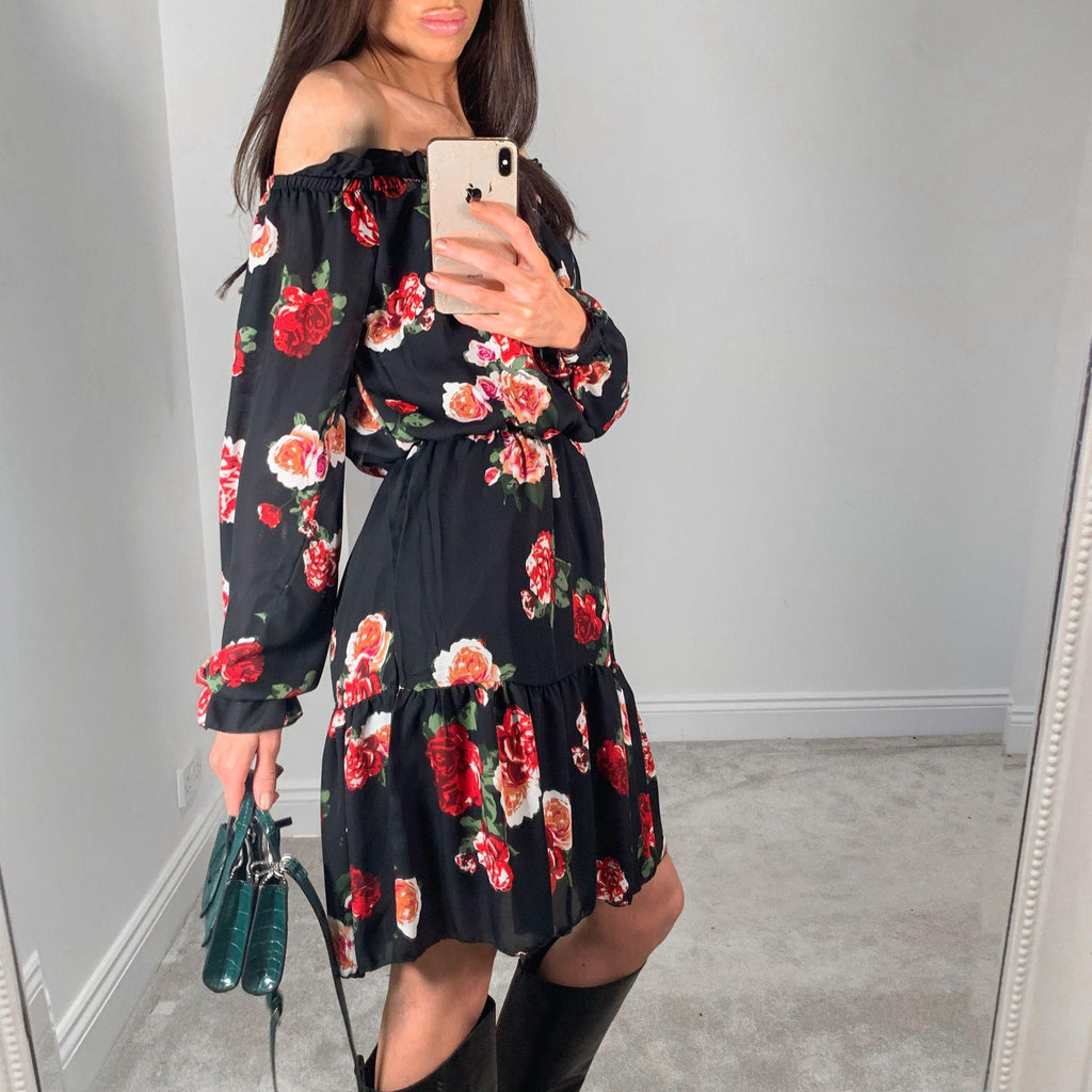 Black Pink & Red Floral Print Cold Shoulder Midi Dress – UK 8 – BRAND NEW!
