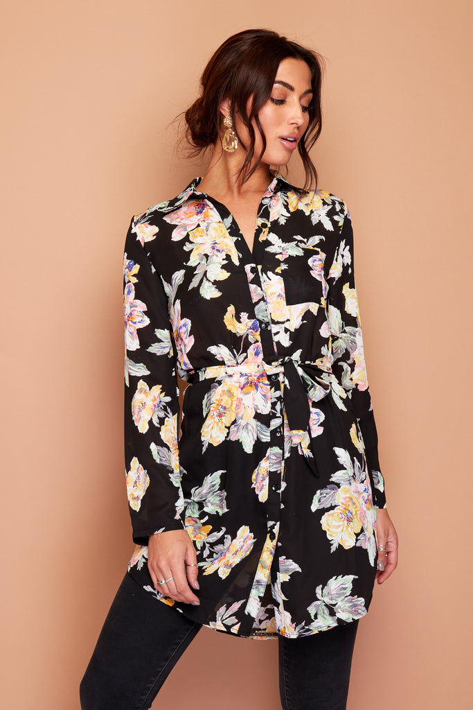 Black Floral Chiffon Shirt Dress