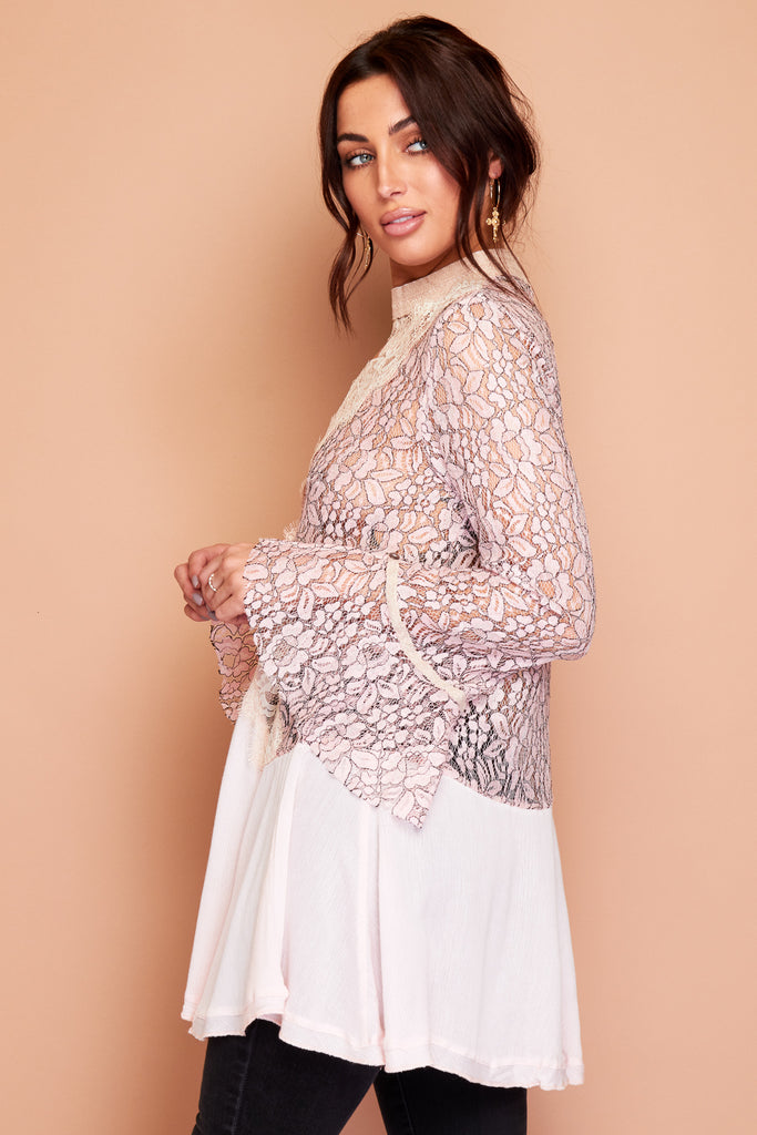 Pink Lace Bell Sleeve Summer Tunic Blouse Dress Top