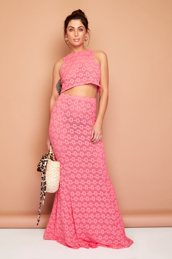 Gypsy Coral Crochet Summer Maxi Skirt And Top Set