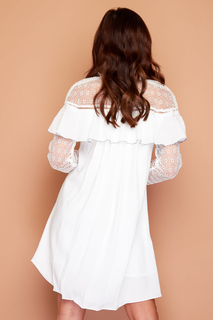 Lillie White Frill Dress with Lace Details