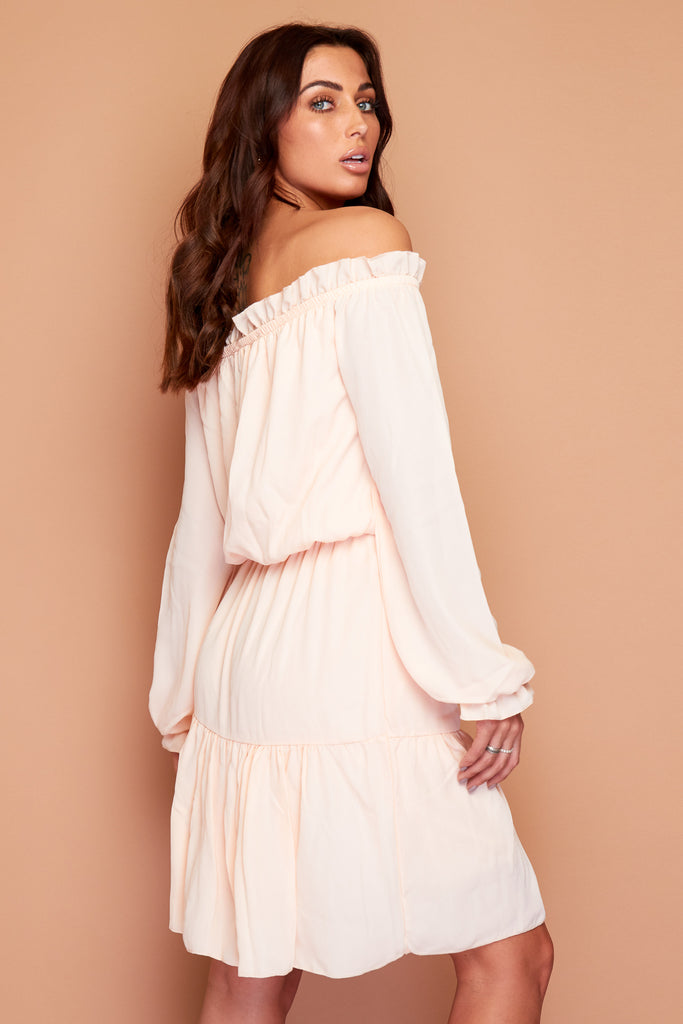 Peach Off The Shoulder Dress