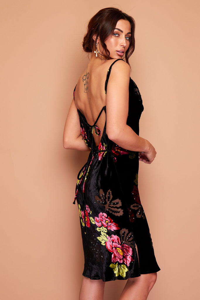 Kate Black Velour and Pink Floral Silk Burn Out Dress