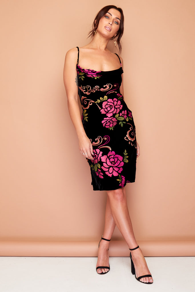 Kate Black Velour Pink Floral Silk Slip Dress