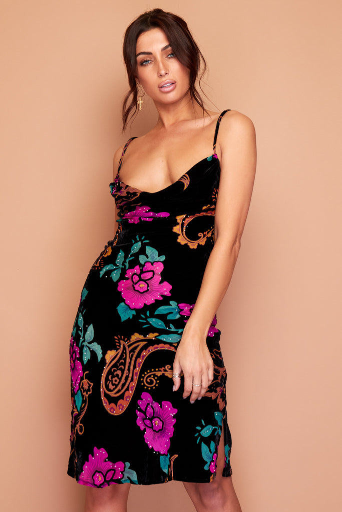 Kate Black Velour Pink Floral and Blue Paisley Silk Slip Dress