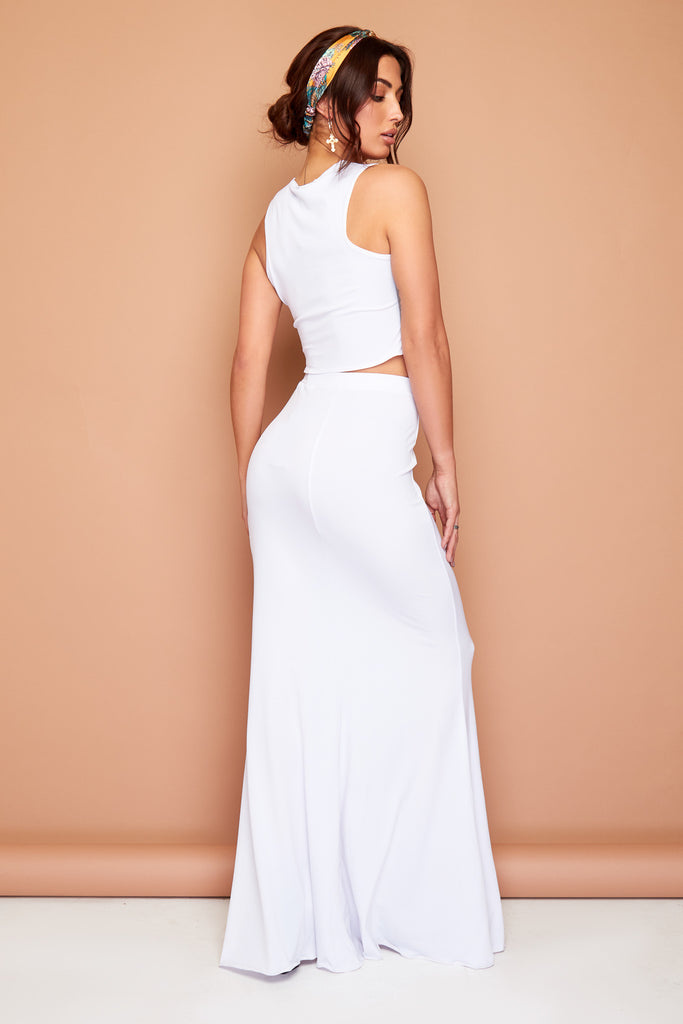 Gypsy White Summer Maxi Skirt and Top Set