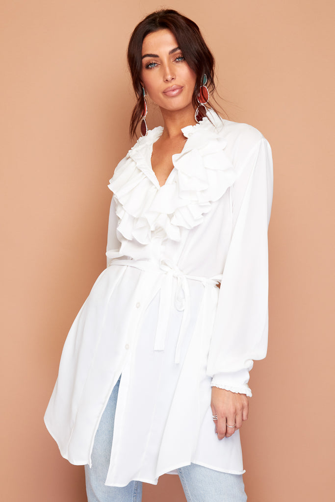 White Ruffle Shirt Tunic Blouse