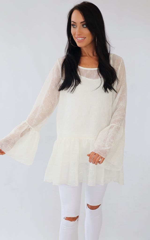 Spellbound Cream Sparkle Top Tunic Dress