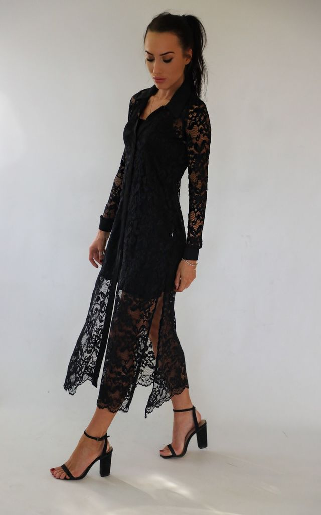 Layla Lace Maxi Shirt in Black