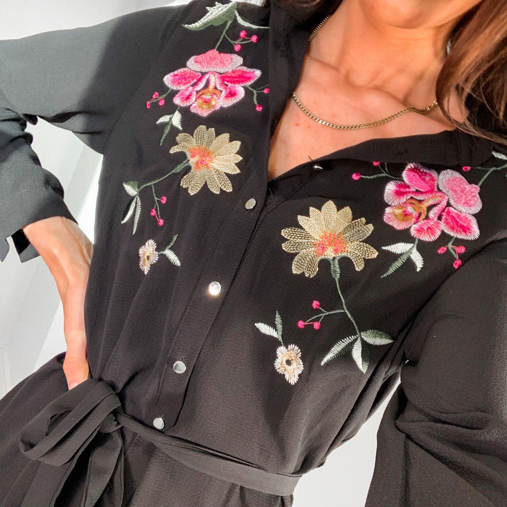 Black Pink & Yellow Floral Embroidered Shirt Dress – UK 8 – BRAND NEW!