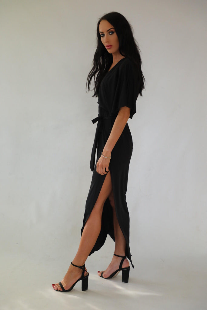 Josie Black Maxi With Side Slit Dress