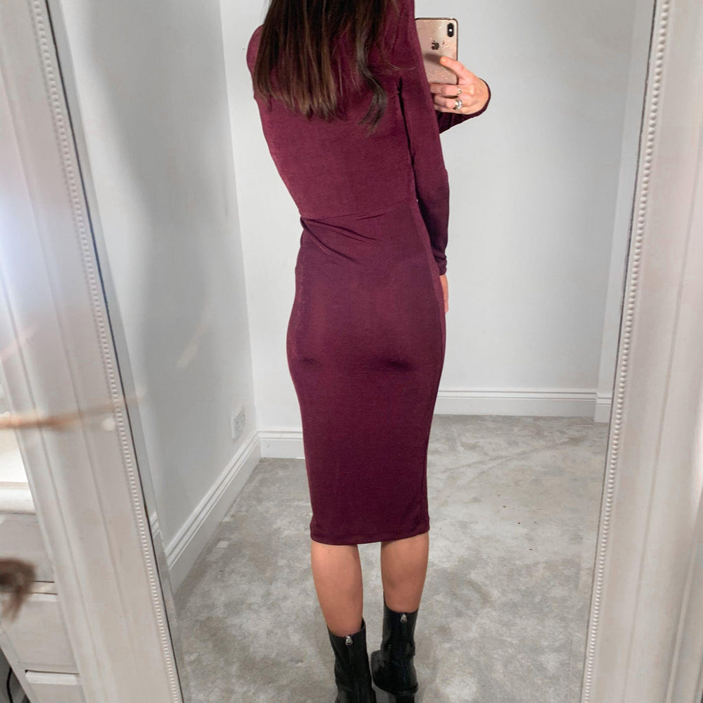 ASOS Burgundy Body Con Stretch Going Out Midi Dress with Shoulder Pads – UK 8 – NEW!