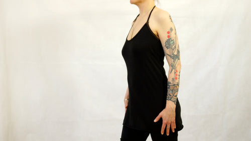 halter top yoga top black jersey organic cotton and bamboo superjersey tattoo sleeve by noon mountain pose kundalini yoga