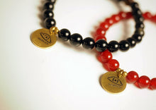 Load image into Gallery viewer, Bracelet, Mala, handmade, Gemstone, Guru bead, brass details
