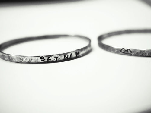 sat nam mantra bangle kundalini yoga, handmade, made of sterling silver hand stamped and textured, unique gift, made by i can c u yoga and yoga wear