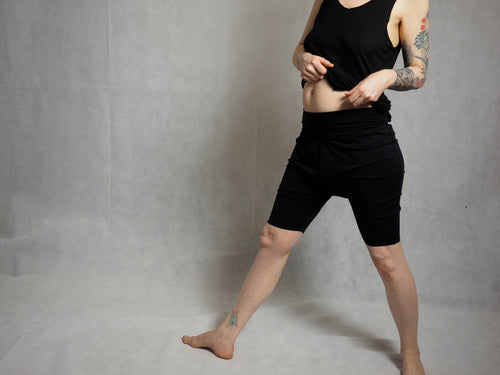 short yoga pants drop crotch pants made of organic cotton and bamboo superjersey shorts made to order made to your measurements black yoga shorts tattoo sleeve by noon tattoo