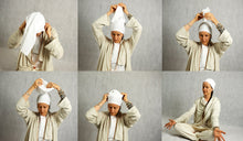 Load image into Gallery viewer, how to wear the head cover, easy turban, head scarf, made of organic cotton jersey, meditate, kundalini yoga wear by i can c u, icancu yoga wear, photo sequence, instructions on how to wear turban