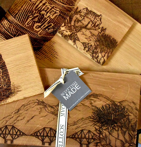 Scottish Made wooden coasters and placemats