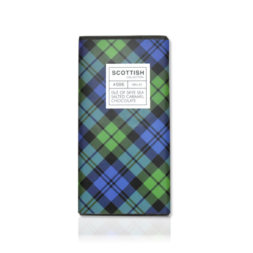 Bar of sea salted caramel milk chocolate in tartan wrapping