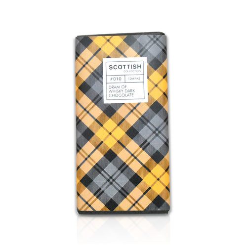 Bar of dark whisky chocolate in tartan wrapping