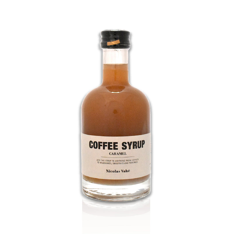Bottle of caramel coffee syrup