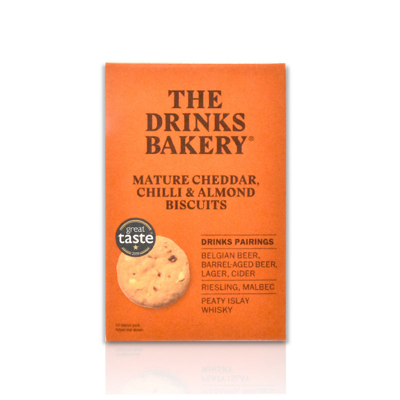 The Drinks Bakery - box of mature cheddar, chilli and almond biscuits