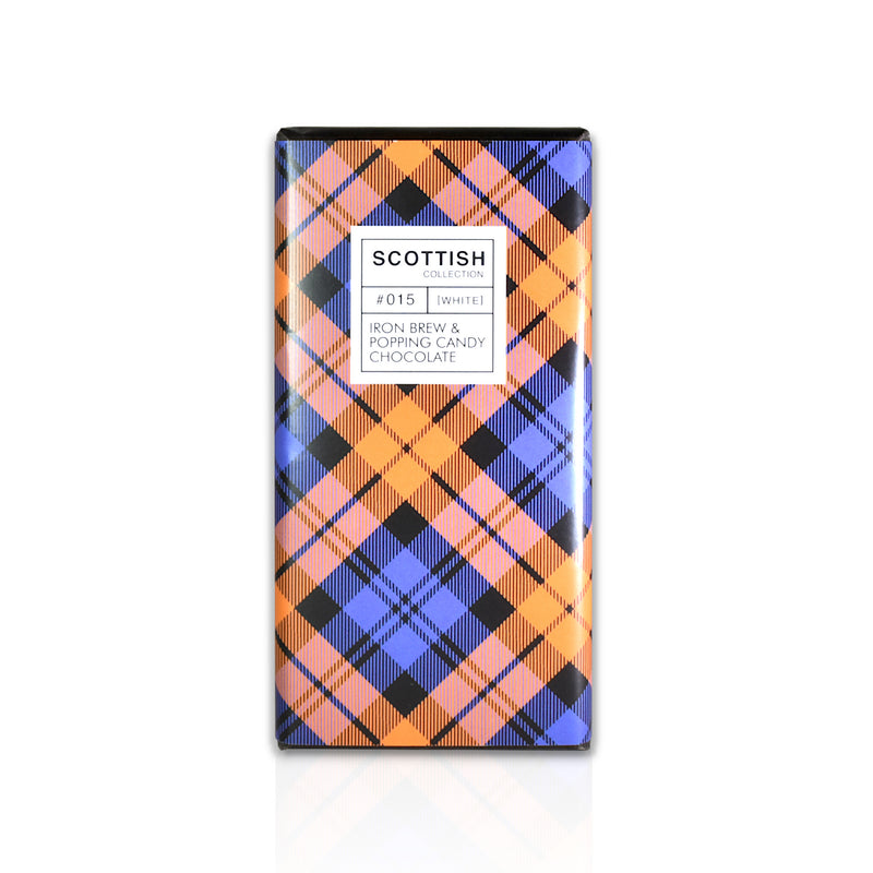 Tartan chocolate – Iron Brew & popping candy (White)