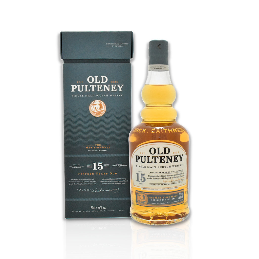 Bottle of Old Pulteney 15 year old whisky