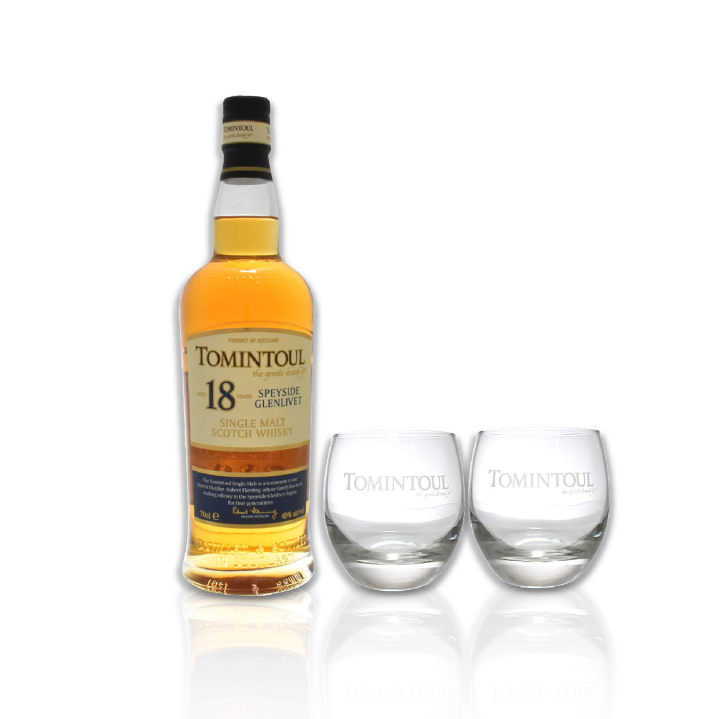 Bottle of Tomintoul 18 year old whisky with glass gift pack