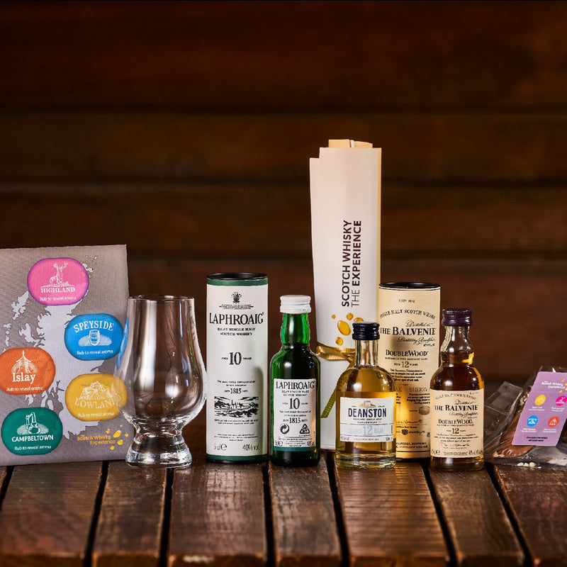 Virtual whisky and chocolate tasting set, including Glencairn glass, whisky miniatures and chocolate