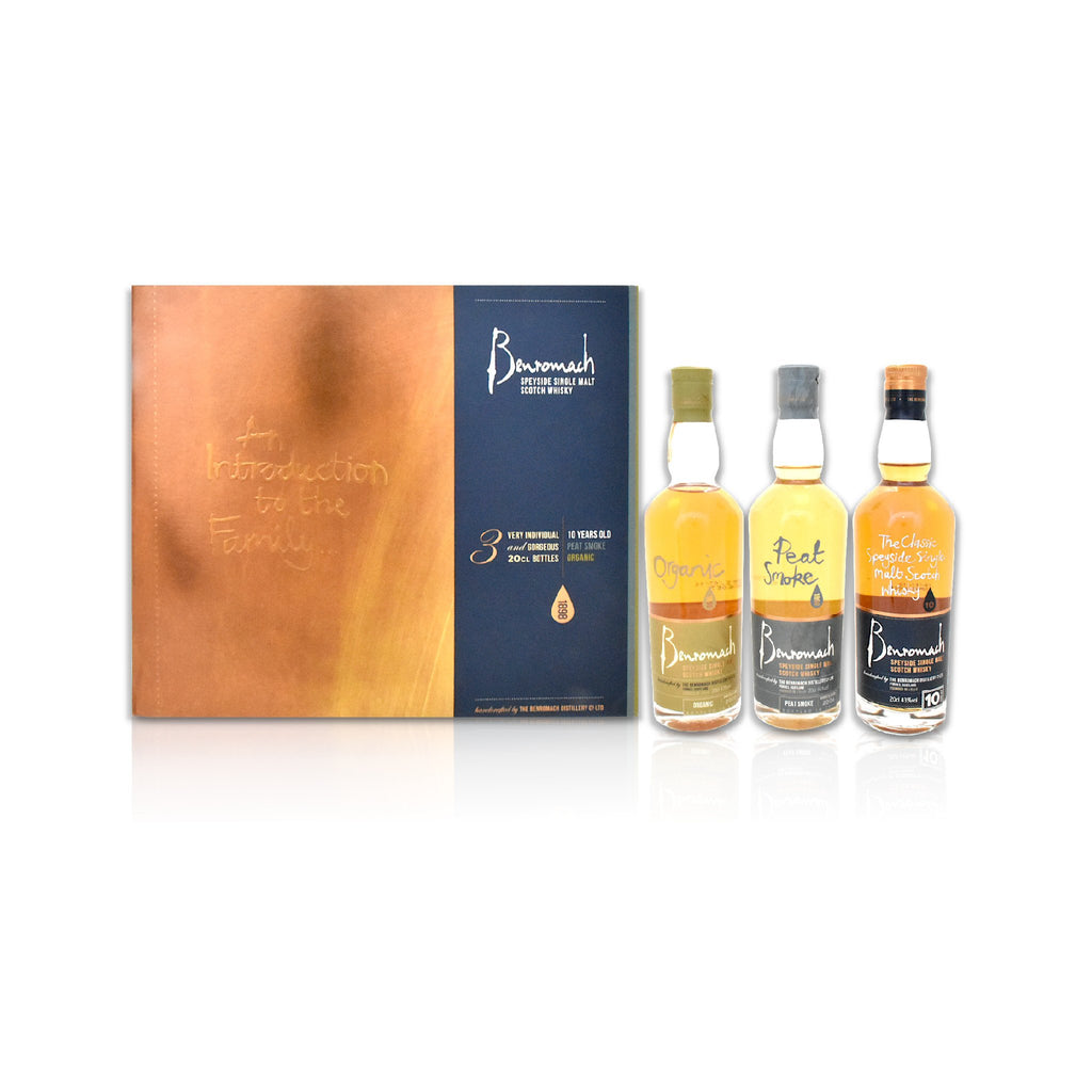 Benromach Intro Whisky Triple Pack, 3 x 20cl bottles - 10 year old, Peat Smoke and Organic