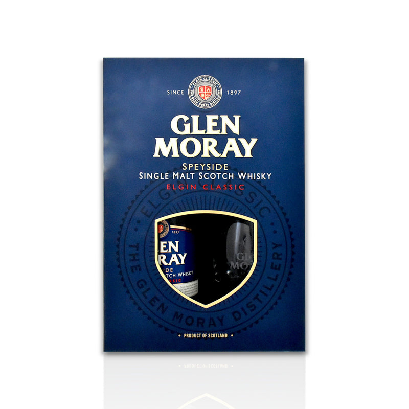 Glen Moray Gift Pack with 1 x 70cl bottle of Glen Moray Elgin Classic and 2 whisky tumbler engraved glasses