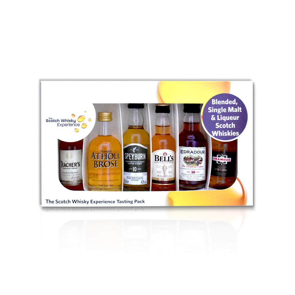 Blends and Linqueurs miniature whisky tasting pack of 6x 5cl bottles